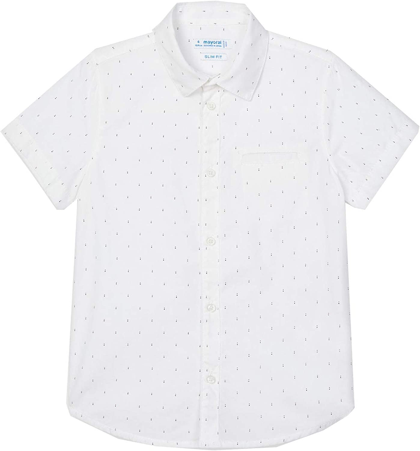 Mayoral - micropatterned s/s Shirt for Boys - 3116, White