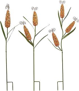 أوتاد حديقة الذرة المعدنية لتزيين الخريف فناء الحديقة فن الحصاد عيد الشكر هالوين الخريف الديكور الخارجي