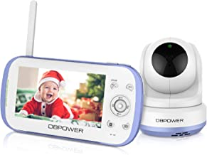 """DBPOWER Video Baby Monitor, 270o Pan-Tilt-Zoom/4.3"""" Large Screen/VOX/Soothing Lullabies/Temp. Monitor/2-Way Talk/Night Vision/Nightlight/Record/Sound Indicator for Elder/Pet. etc., Camera Expandable"""