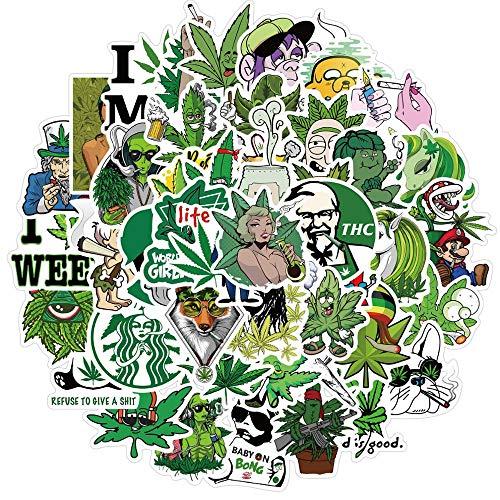 50 PCS Hemp Leaf Stickers for Adults Marijuana Stickers Vinyl Waterproof Stickers for Laptop
