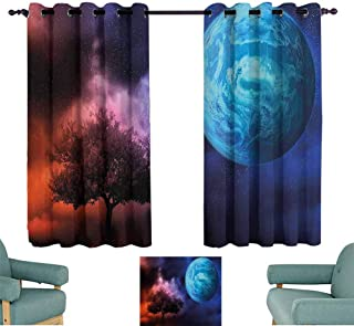 Mannwarehouse Space Printed Insulation Curtain Tree of Life Theme with Moon Spiritual Mystery Futuristic Fantasy Mythical Picture Suitable for Bedroom Living Room Study, etc.72 Wx63 L Pink Blue