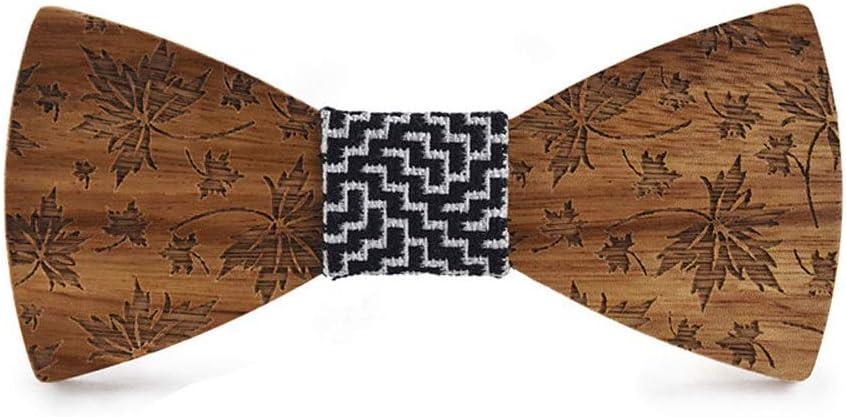 Los Angeles Mall HIZLJJ Classic Handmade Milwaukee Mall Mens Wood Bow Carve Leaf Adult Maple Tie
