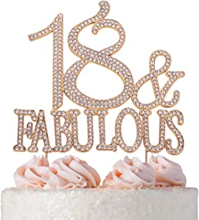 18 and Fabulous ROSE GOLD Cake Topper | Premium Sparkly Crystal Rhinestones | 18th Birthday Party Decoration Ideas | Quality Metal Alloy | Perfect Keepsake