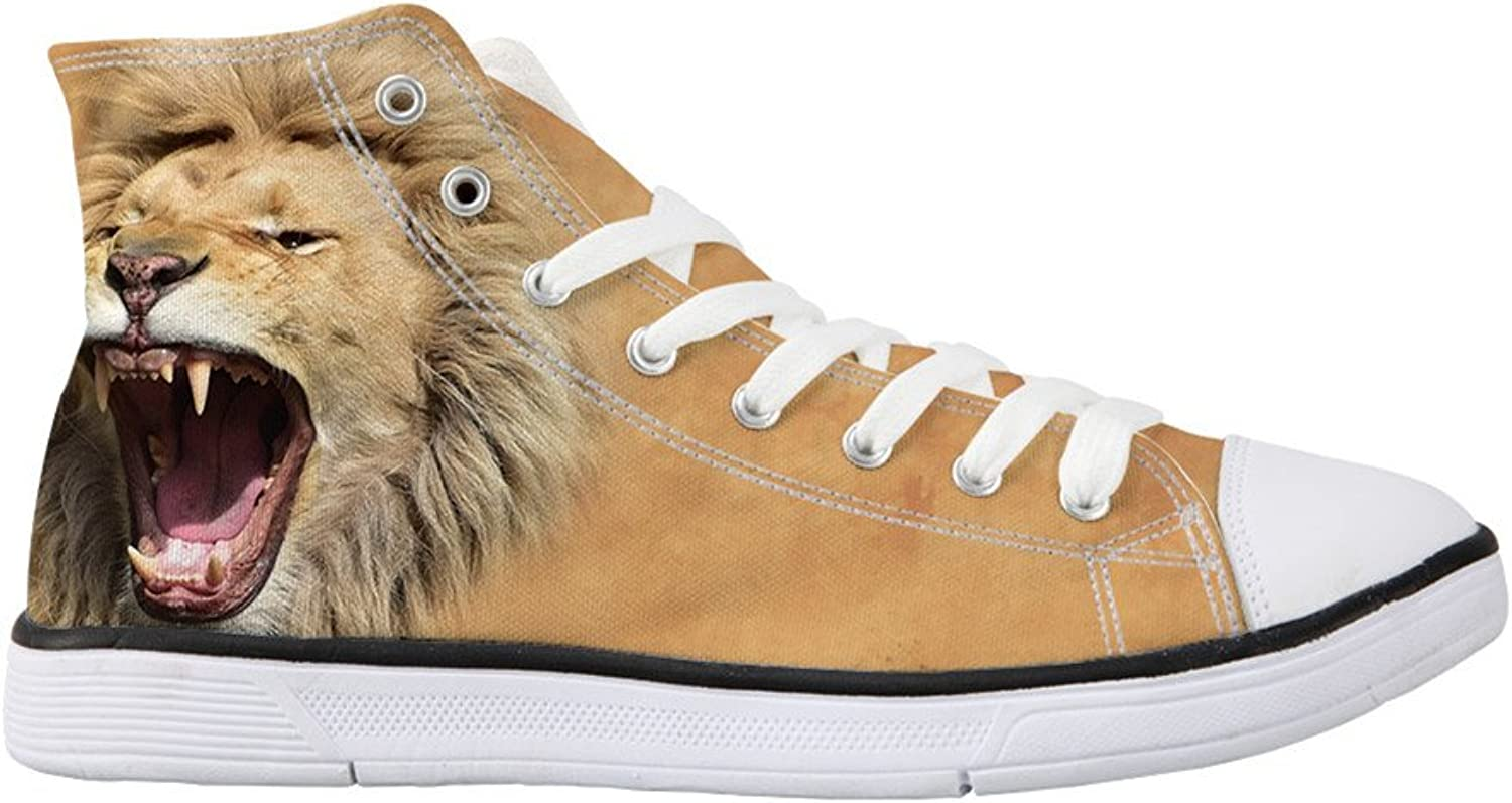coloranimal Women High Top Canvas shoes 3D Animal Printed Vulcanized Lace Up Flats