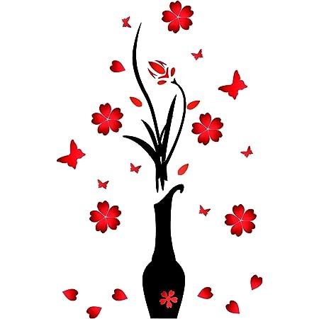 Murales de Pared de Flor y Jarrón 3D Pegatinas de Pared de Acrílico Pegatinas de Originalidad Decoración de Calcomanía de Pared de Flor y Florero DIY para Sala, Rojo (39 x 16 Pulgadas)