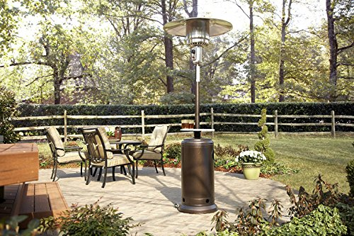 Hiland HLDS01-WCGT 48,000 BTU Propane Patio Heater w/Wheels, Table, Hammered Bronze