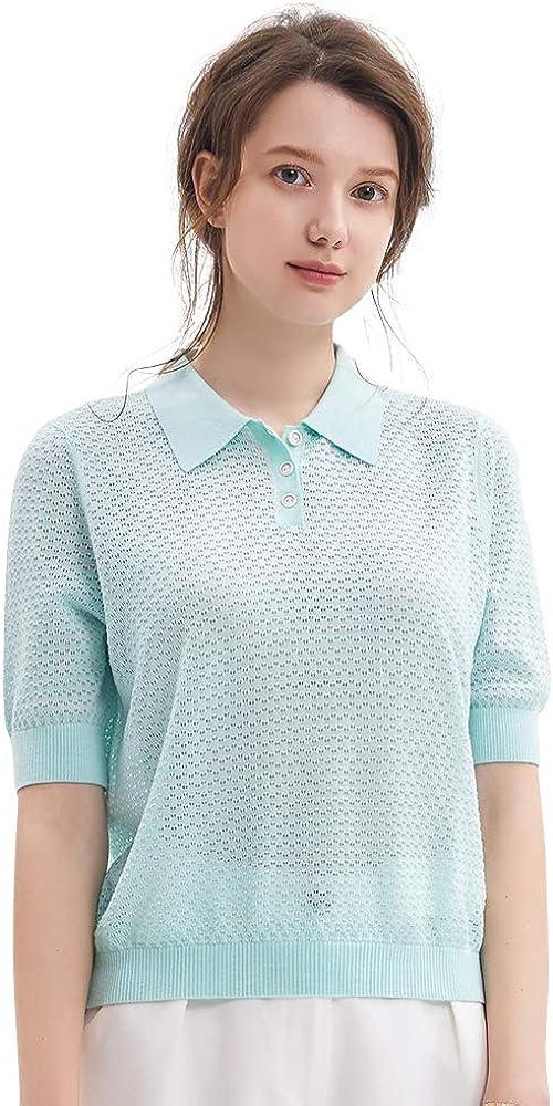 织礼 Zhili Women's Solid Color Breathable Short Sleeve Knit Polos Tee T-Shirt