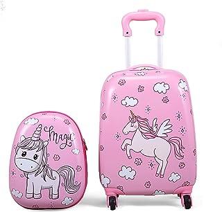 """JAXRL Kids Carry On Luggage Set 2Pc 12"""" 16"""" Upright Hard Side Hard Shell Suitcase, Pink Unicorn"""