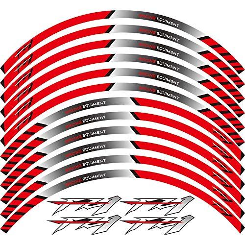 12 adhesivos para llantas exteriores de borde grueso, para decoración de etiquetas FZ1 FAZER FZ 1 (color: rojo)
