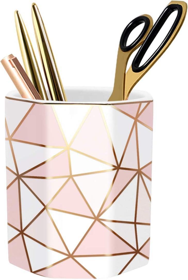WAVEYU Pencil Holder, Pen Holder for Desk, Cute Makeup Brush Holder Marble Pattern Pencil Cup for Kids Girls Durable Ceramic Desk Organizer Ideal Gift for Office, Home, Golden Marble