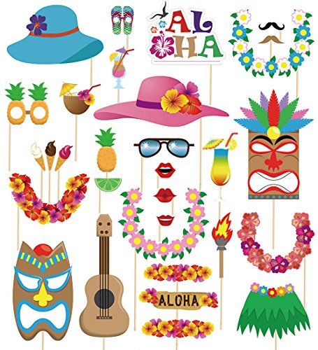 60pcs Luau Photo Booth Props - Hawaiian/Tropical/Tiki/Summer Pool Party Decorations Supplies (Assembly Needed)