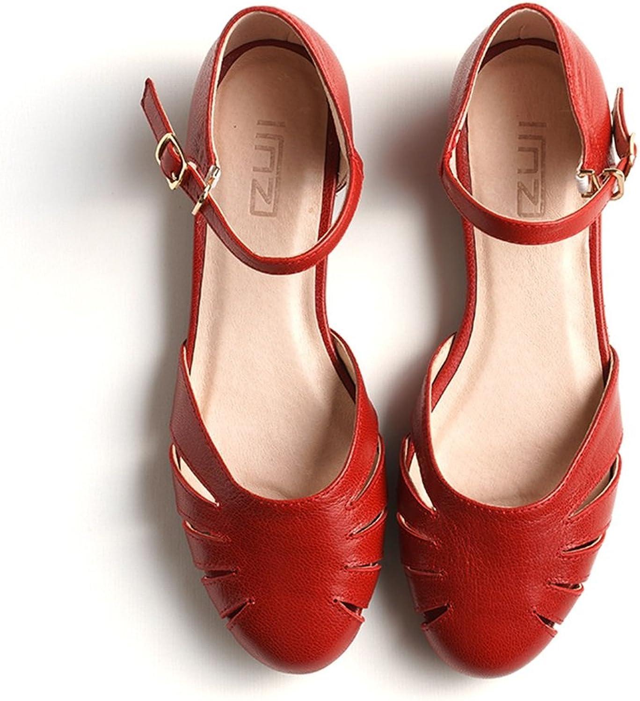 QIDI-sandalen Frau Flacher Boden Runder Kopf Hollow Rutschfest Rutschfest Rutschfest Low-Heels Einzelne Schuhe (Farbe   Rot, größe   EU35 UK3)  81aec2