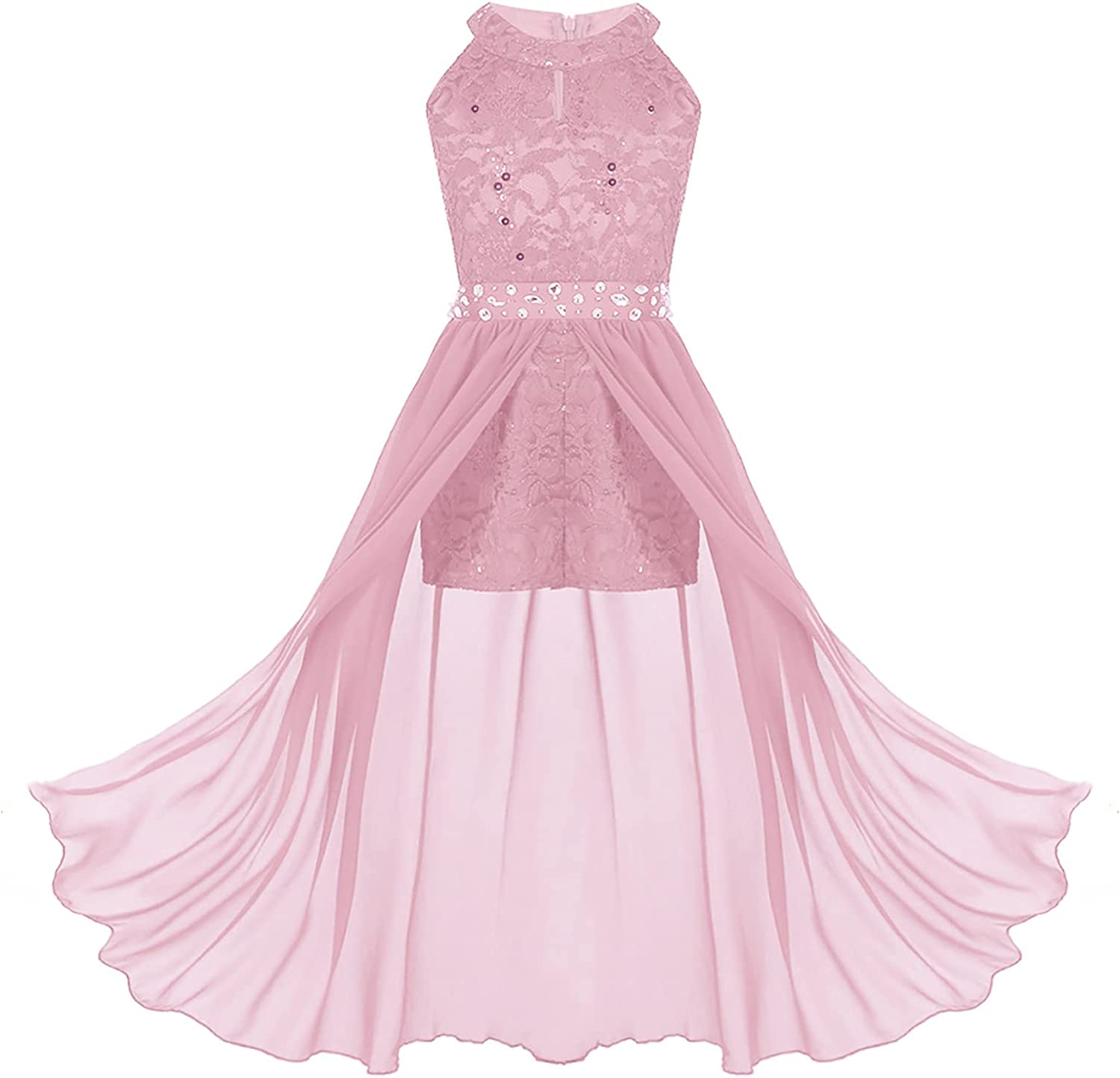 CHICTRY Kids Big Girls Sequin Lace Rhinestone Belt Romper Dresses Wedding Birthday Party Dance Maxi Gowns