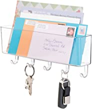 mDesign Wall Mount Plastic Entryway Storage Organizer Mail Sorter Basket with 5 Hooks - for Letters, Magazines, Coat, Pet Leash and Keys for Entryway, Mudroom, Hallway, Kitchen, Office - Clear