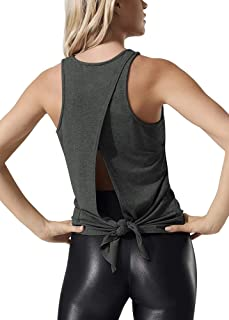 Bestisun Workout Athletic Tank Tops Open Back Sleevelss Shirts Gym Clothes Tie Knot Yoga Tops for Women