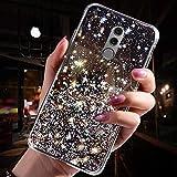 Jinghaush compatibile con Huawei Mate 10 Pro Custodia Glitter Trasparente, Nero