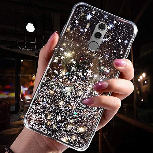 Uposao Kompatibel mit Huawei Mate 10 Pro Hülle Glitzer Diamant Sterne Glänzend Kristall Strass Bling Schutzhülle Crystal Clear Silikon Durchsichtig Hülle Ultradünn TPU Bumper Tasche,Schwarz