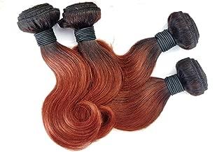MDL Brazilian Virgin Hair 4 Bundles Body Wave 10 10 10 10 Inch Omber Color T1B/33 Short Human Hair Virgin Brazilian Hair Weaves 50G/Pcs Human Hair Extensions Natural color
