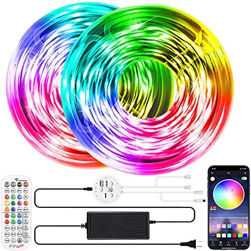 Tira LED 20M, RGB Tiras De Luces LED Sincronización De Música Bluetooth, Control De App Y Remoto De 40 Botones,5050 LED Strip para Habitacion/Interior/Dormitorio/Hogar/TV