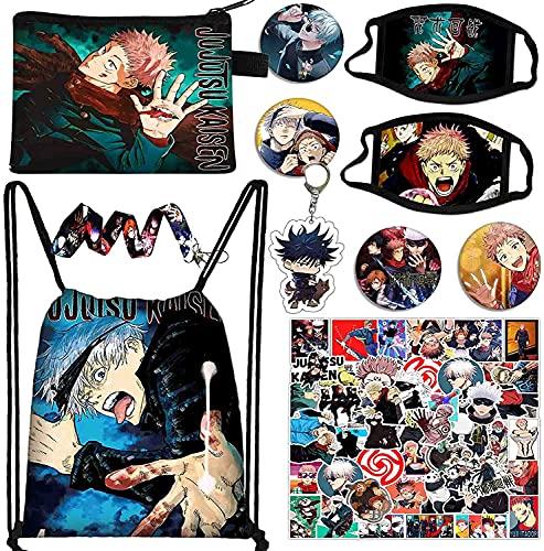 Jujutsu Kaisen Set de regalo, 1 bolsa con cordón, 2 protección facial+50 pegatinas de dibujos animados+1 llavero+1 cordón + 4 botones + 1 bolsa de monedero