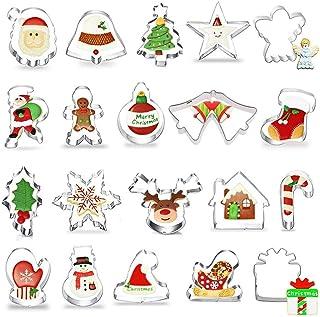 Emporte Pièces Noël, Lot de 20 Forme Biscuit Noel, Emporte-pièces en Acier Inoxydable pour Décoration de Gâteau Fondant Bi...