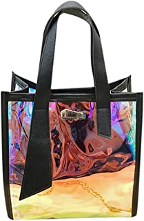Thenxin Hologram Laser Shoulder Handbag Shiny Holographic Clear Tote Bag Crossbody Beach Bag(Black)