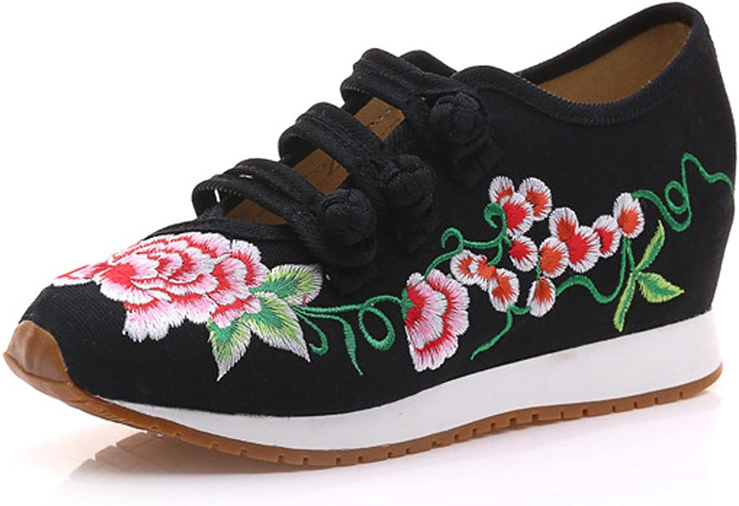 Ladies Embroidery Walking shoes Flats Womens Traveling Wedge Students Sneakers shoes