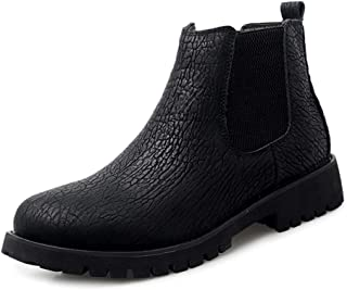 SHENTIANWEI Chelsea Boots for Men Short Tube Shoes Round Toe Pull on Genuine Leather with Texture Elastic Band Soft Lining Stitch Anti-Slip (Fleece Lined Option) (Color : Black, Size : 8 UK)