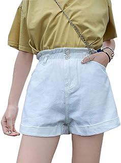 Plaid&Plain Women's High Waisted Denim Shorts Rolled Blue...