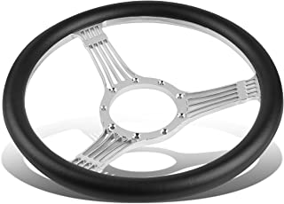 For 9-Bolt 100mm 2.25 inches X 13.5 inches Billet Aluminum/PVC Leather Racing Steering Wheel (Black)