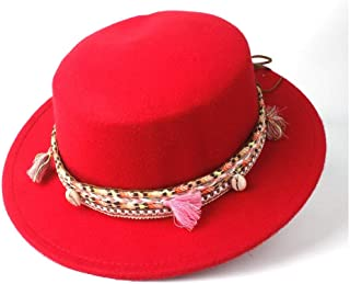 SAIPULIN-AU Men's and Women's Flat Top Cap Fedora Ms. Fascinator Casual Wild Style British Style Top Hat Fedora Hat Gentleman Daddy Church Hat (Color : Red, Size : 56-58)