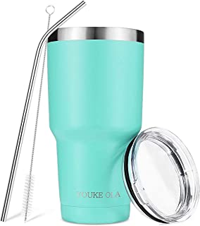 Stainless Steel Tumbler 30oz - Vacuum Insulated Tumbler Coffee Cup Double Wall Large Travel Mug with Lid, Straw, Brush, Gift Box Set (Seafoam)