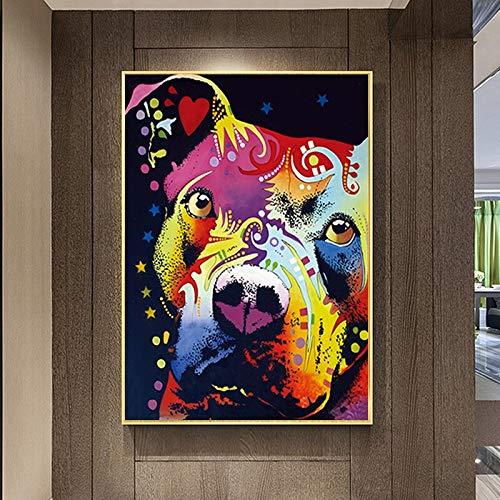wZUN Perro Colorido reflexivo torero corazón Arte Lienzo Abstracto Animal Pintura Cartel impresión Pared Arte Imagen 60X90 Sin Marco