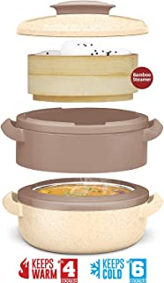 2 in 1 Casserole Pot and Steamer – Bamboo Steamer and Stainless-Steel Casserole Steamer – Microwave and Dishwasher Safe – ...