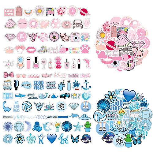 100 Pack Decals Aesthetic Vinyl Funny Computer Stickers for Laptop for Teen Girls Boys Gift, for Suitcases,Waterproof Trendy Stickers for Skateboard Guitar Bike Water Bottles Travel Case Phone iPad