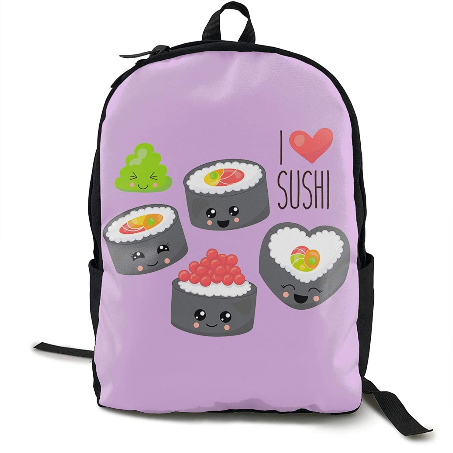 KOSFA I Love Sushi Backpacks Anti Theft Shoulder Bags Laptop School Travel Large Bag for Men Women Black