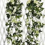 JUSTOYOU 2 pacchi 7.8FT 13 Teste a Due Colori Artificiali Falsi Ghirlanda di Rose Viti appese Fiori di Seta per la Decorazione della Parete di Nozze all'aperto Bedroom (Bianco)