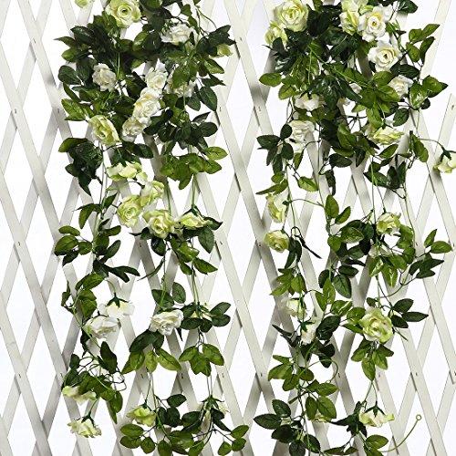 JUSTOYOU 2pcs 7.8FT zweifarbige künstliche gefälschte Rosengirlande Wein hängen Seide Blume künstliche Blume für Außen- und Innenhochzeit Wand schlechte Dekoration (weiß)