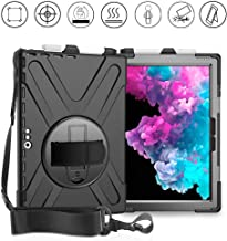 Gzerma Case for Surface Pro 6 Pro 5 with Pen Holder Hand Shoulder Strap, Kickstand, Heavy Duty Rugged Kids Proof 360 Rotating Stand Shell Case Cover for Microsoft Surface Pro 4 12.3 Inch (Black)