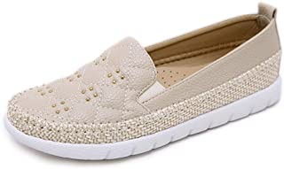 Women's Rivets Shoes New Spring Loafers & Slip-Ons Low-Top Casual Shoes Hemp Rope Round Head Comfortable Deck Shoes,Beige,39
