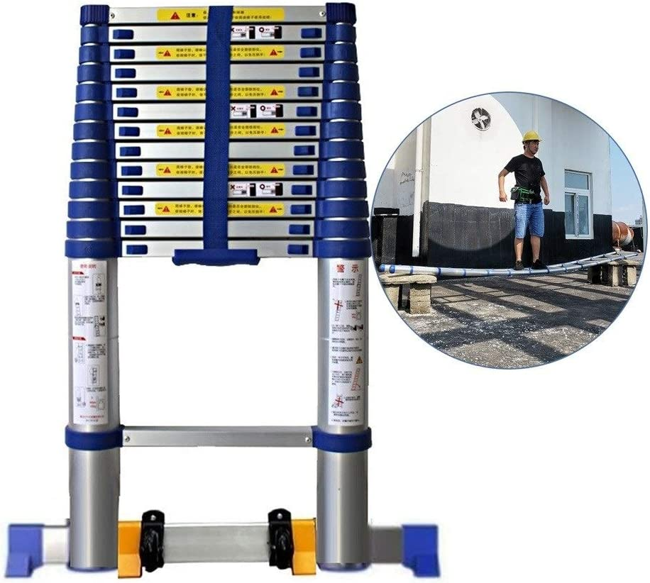Amazon Com Zaqi Telescopic Ladder 5m 6m 7m 8m Multi Purpose Aluminium Extension Ladders With Wheels Diy Tool For Climb Home Builders Attic Work Place Color Blue Size 5 4m 17 Ft Home