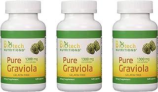 Biotech Nutritions - Graviola 100% Pure Graviola 1300mg Per Servings - 120 Capsules Per Bottle (Annona muricata) | 3-Pack