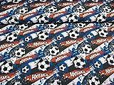 Swafing Klaas Baumwoll Jersey Stoff Football und Ball auf