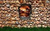 Vliestapete Fototapete in 3D-Optik Weinkeller Tapete Designtapete Steinmauer mit Gras VT209