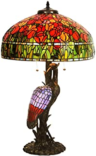 Tiffany Style Table Lamp, 20 inch Retro Large House Bedroom Decor Lights, Classical Tulip Stained Glass Design Desk Lamp with Antique E14 Light Base, E27