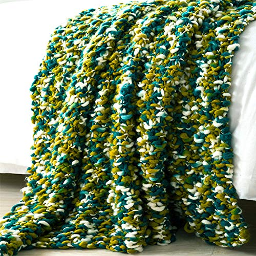 Blanket Chunky Knitted, Couverture Douce Chaude, Coton Lit Jette Canapé/Lit Jet De Couverture 130cmx160cm (51\