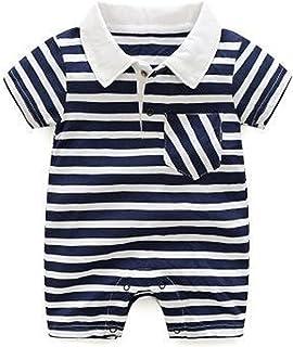 للجنسين طفل رضيع فتاة مخطط رومبير قصيرة الأكمام بذلة للأطفال الوليد الأطفال عارضة ملابس داخلية (Color : Blue, Kid Size : 12M)