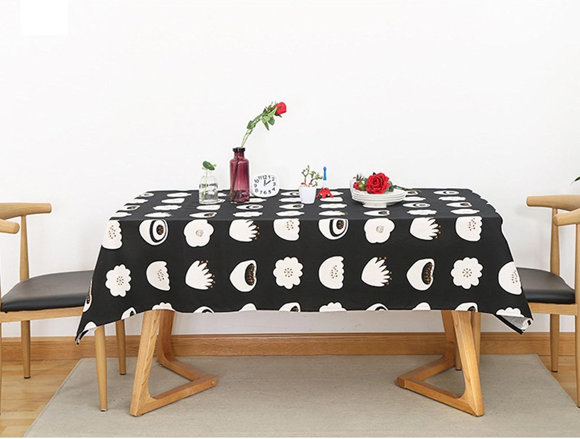 LINGZHIGAN Nappe Tissu Art Simple Rectangulaire Table à thé Mariage Restaurant Table de fête Noir et blanc Coton et lin (Ce produit ne propose que des nappes) ( taille   140300cm )