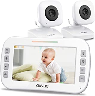 """AXVUE E612 Video Baby Monitor with 4.3"""" LCD Screen and Two Cameras, Night Vision, 800 ft. Distance and 8H Battery Life, Au..."""