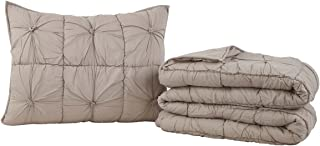 VHC Brands Camille Solid Color Voile Cotton Farmhouse Bedding Pre-Washed Pleated Sham Twin Quilt Set, Taupe Grey